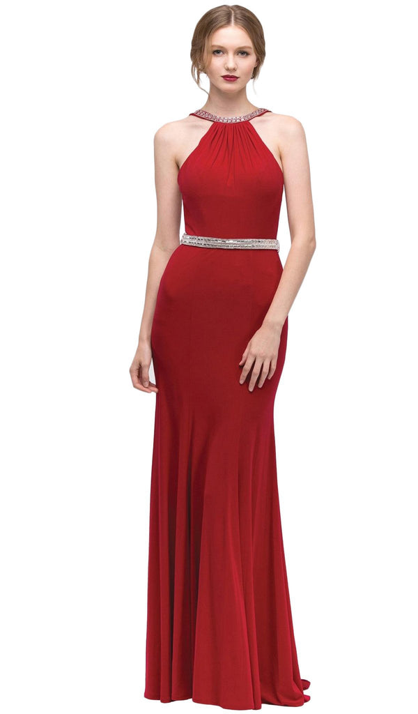 Jeweled Halter Jersey Sheath Evening Dress