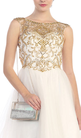 Crystal Embellished Sheer Cocktail Dress
