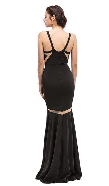 Sheer Panels Halter Satin Trumpet Dress