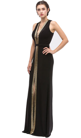 Plunging Gold Beading Fitted Evening Dress