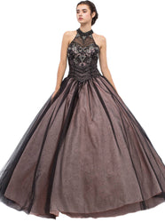 Bejeweled Illusion Evening Dress