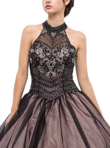 Beaded Illusion High Halter Evening Gown