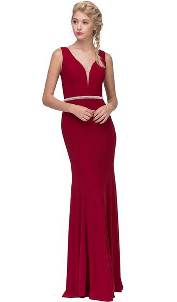 Beaded Plunging V-neck Jersey Evening Dress - ADASA