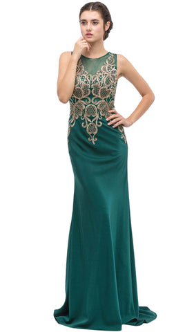 Sleeveless Embroidered Gilt Lace Trumpet Evening Gown