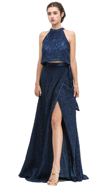 Sleeveless Lace Halter Evening Dress with Slit
