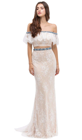 Off-Shoulder Two-Piece Lace Mermaid Evening Gown