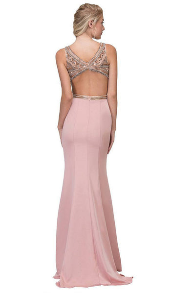 Beaded Bateau Neck Stretch Satin Evening Gown - ADASA
