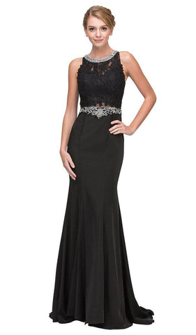 Jewel Neck Embellished Mermaid Evening Gown