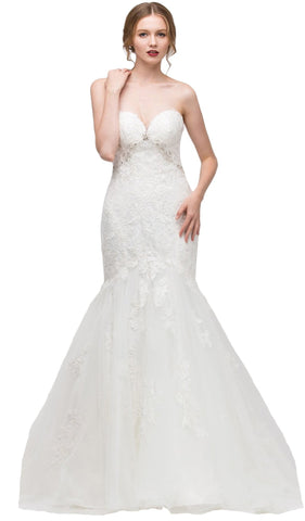 Sweetheart Jeweled Lace Trumpet Wedding Dress