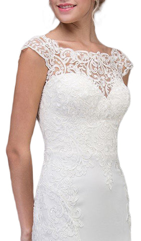 Lace Illusion Bateau Satin Wedding Dress