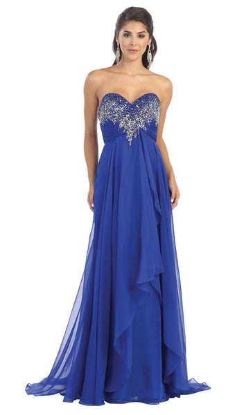 Divine Long Strapless Sequined Prom Dress - ADASA