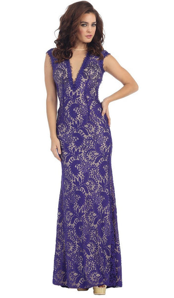 Lace Illusion Sheath Evening Dress