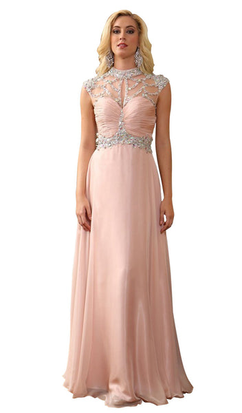 Embellished High Neck with Ruched Bodice A-line Evening Dress