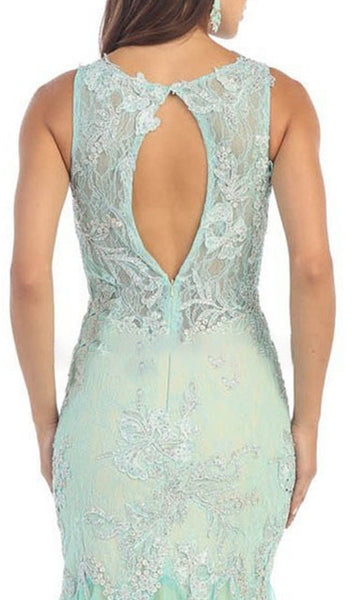 Lace Scoop Trumpet Evening Dress