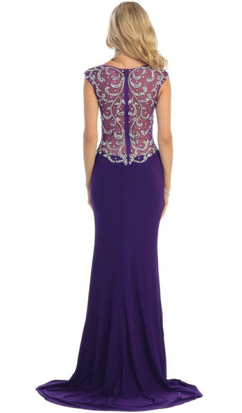 Jeweled Bateau Trumpet Evening Dress