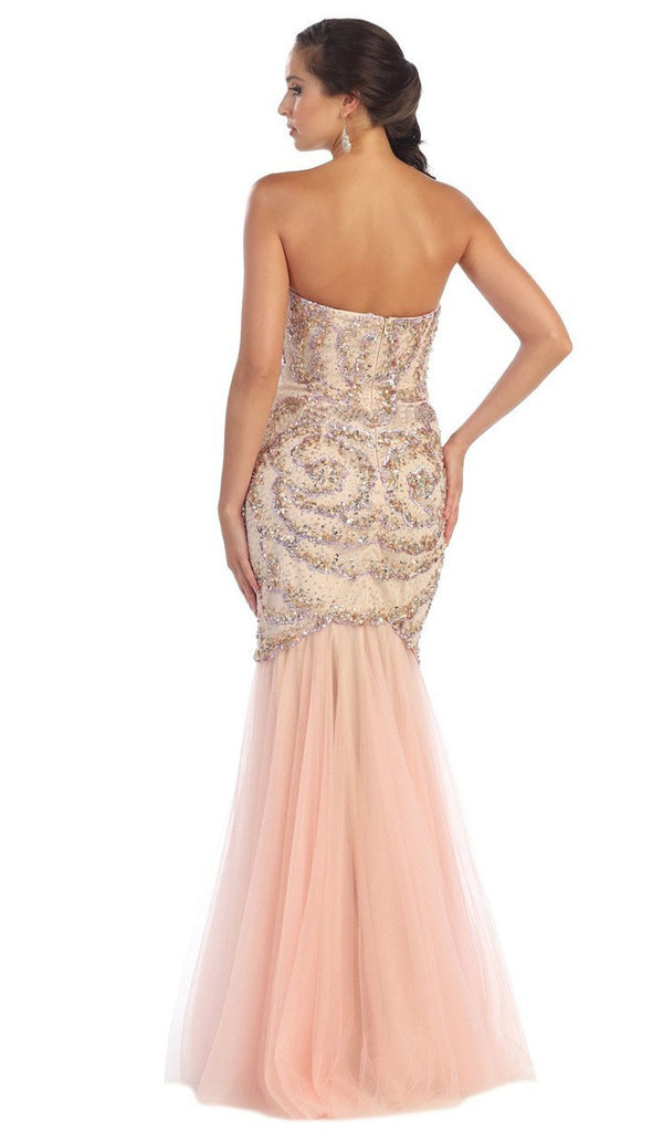 Strapless Sequined Embellished Evening Gown