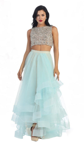 Sleeveless Two-Piece Beaded Top Hi-low Evening Dress