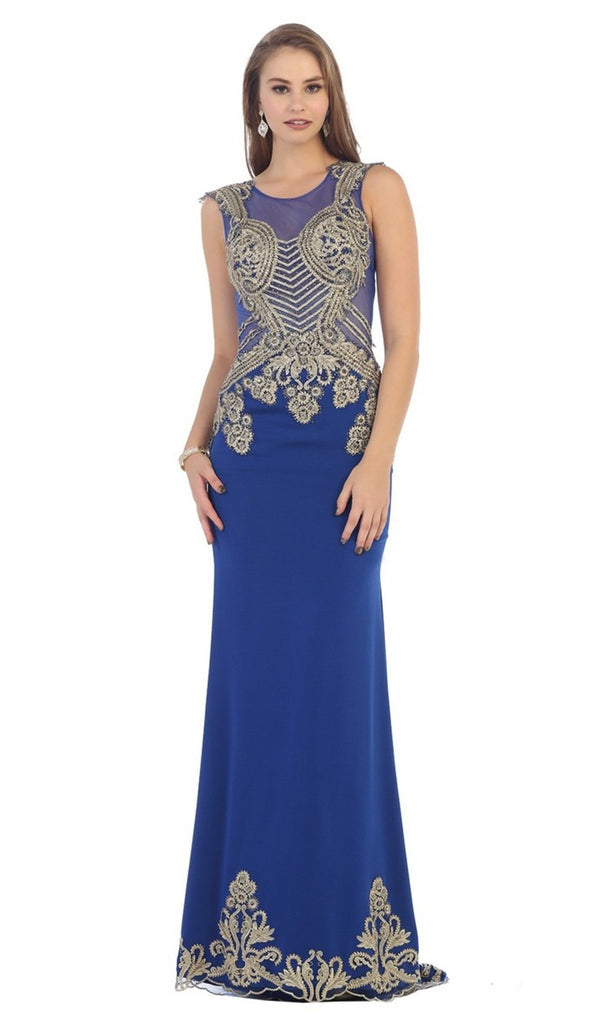 Gold Embellished Sheer Jewel Sheath Evening Dress