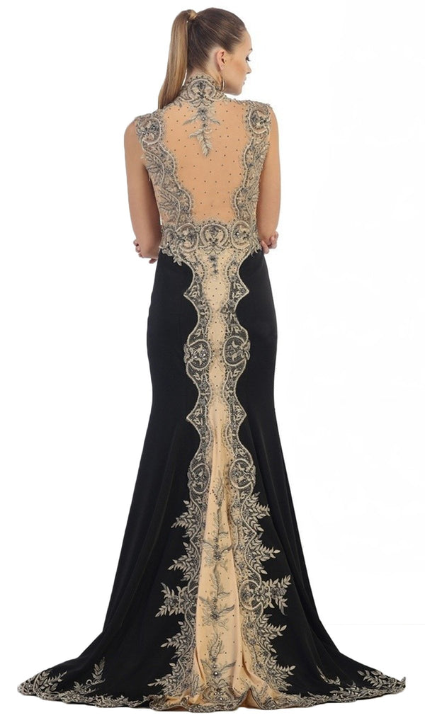 Embellished Queen Anne Sheath Evening Dress