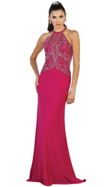 Ornate Illusion Panel Prom Gown