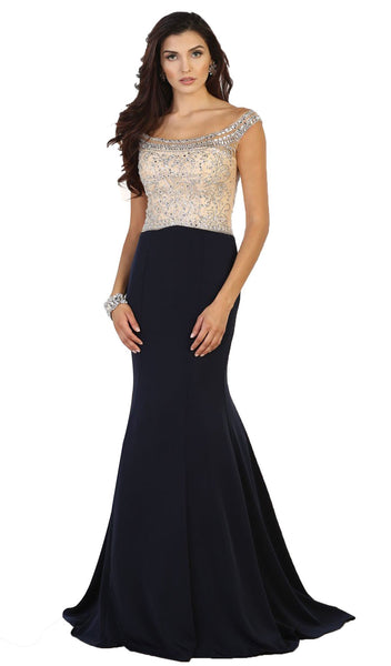 Embellished Off Shoulder Sheath Prom Dress