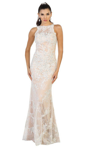 Sleeveless Lace Illusion Evening Dress