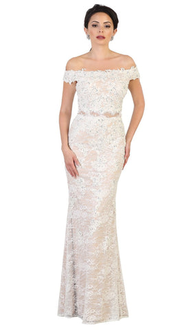 Beaded Lace Appliqued Off-Shoulder Evening Gown - ADASA