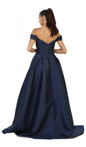 Satin Off Shoulder A-line Evening Dress