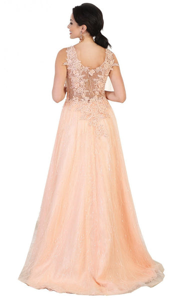 Embellished Scoop A-line Evening Dress