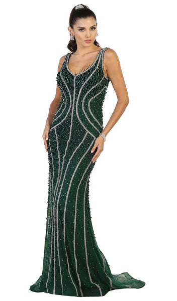 Sleeveless Embellished Mesh Evening Gown