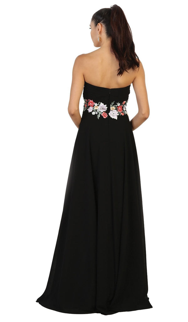 Sweetheart Floral Empire Evening Gown
