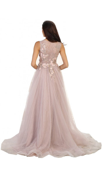 Sleeveless Pearl Embellished Evening Gown