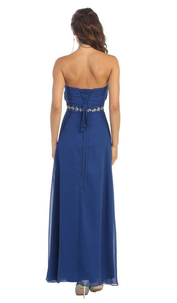 Strapless Pleated Bodice  A-Line Long Formal Dress