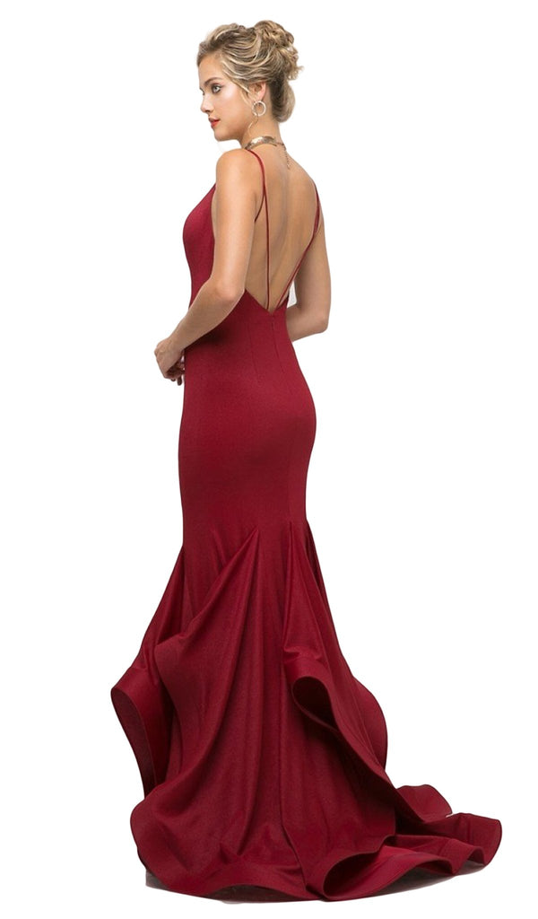 Fitted V-Neck Stretch Knit Mermaid Gown  Red
