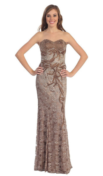 Strapless Beaded Foliage Motif Prom Gown
