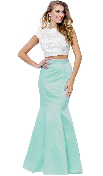 Two-Piece Pearl Embellished Gown