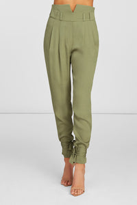 Aria High Waisted Skinny Pants in Olive Viscose Stretch with Ankle Ties