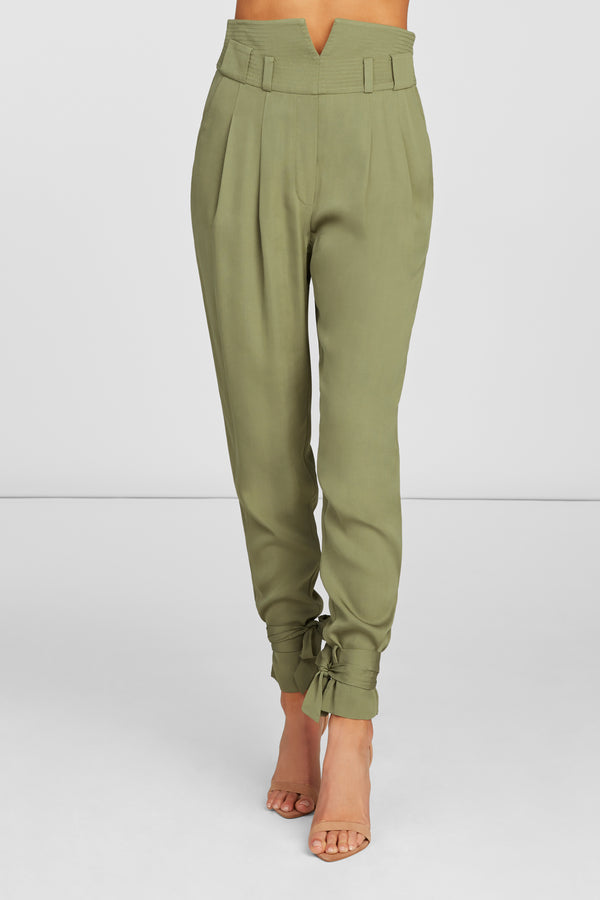 Aria High Waisted Cigarette Pants in Olive Viscose Stretch with Ankle Ties