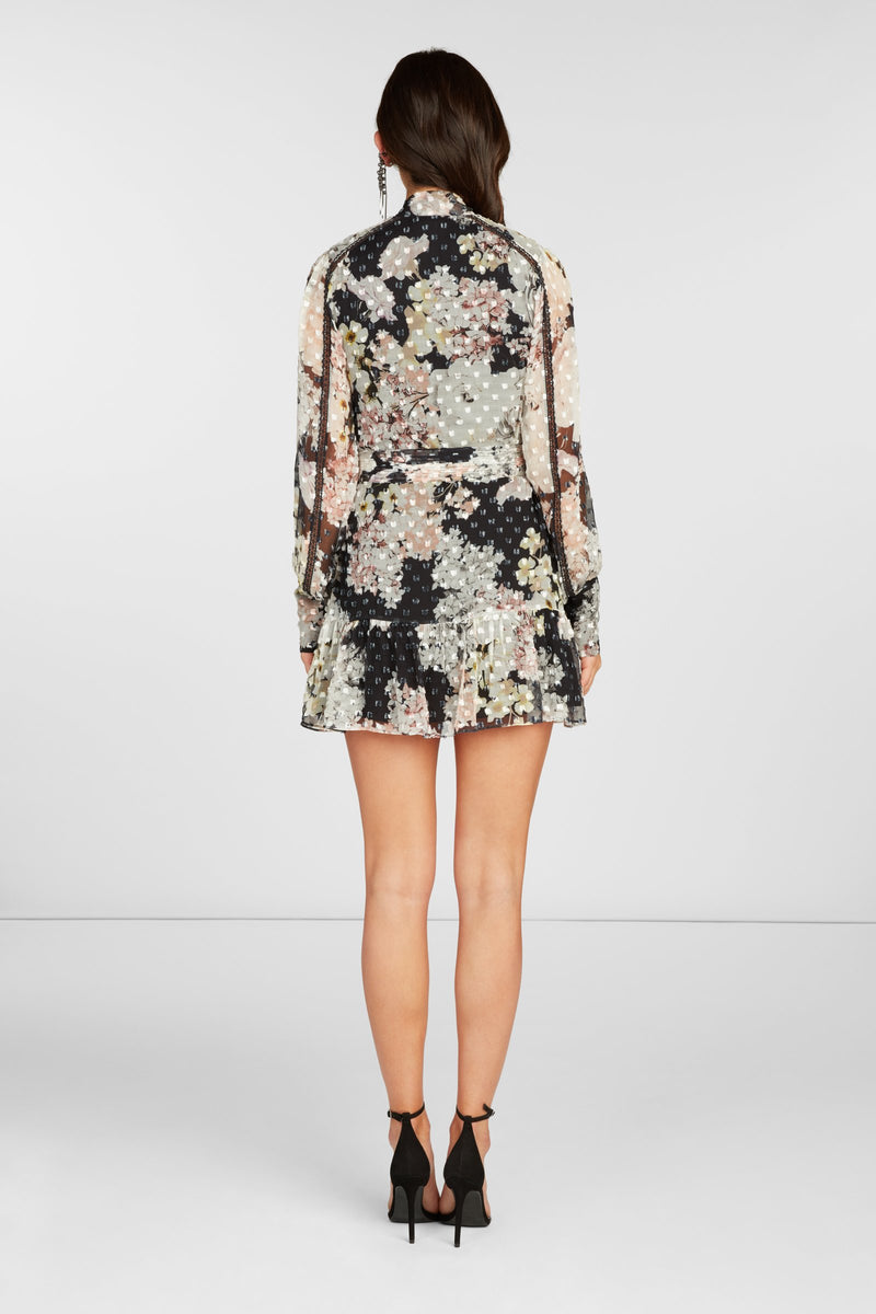 Madison Long Sleeve Mini Dress in Black Floral Printed Clip Dot with Lace Detail