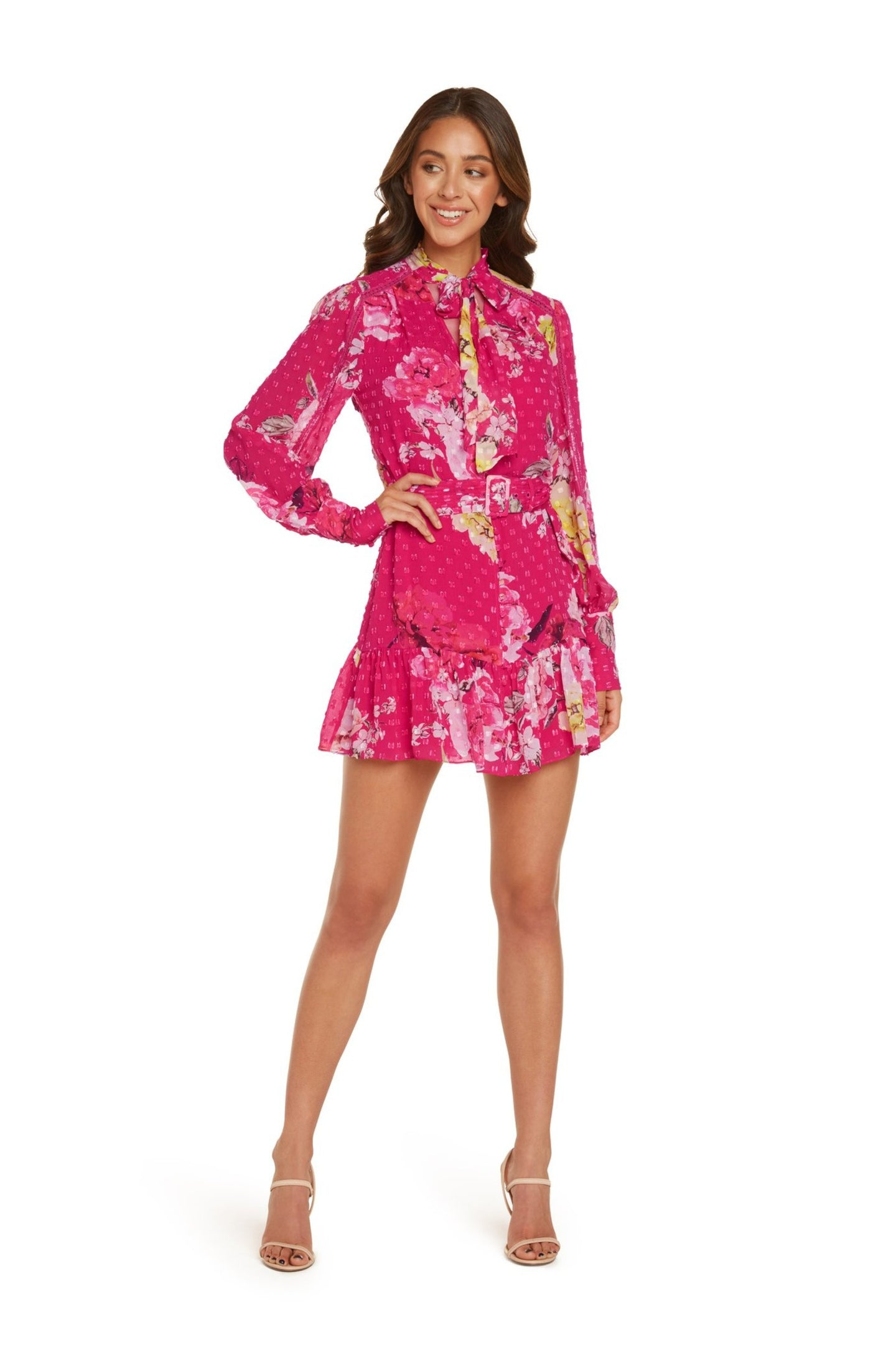 Madison Long Sleeve Mini Dress in Hot Pink Floral Printed Clip Dot with Lace Detail