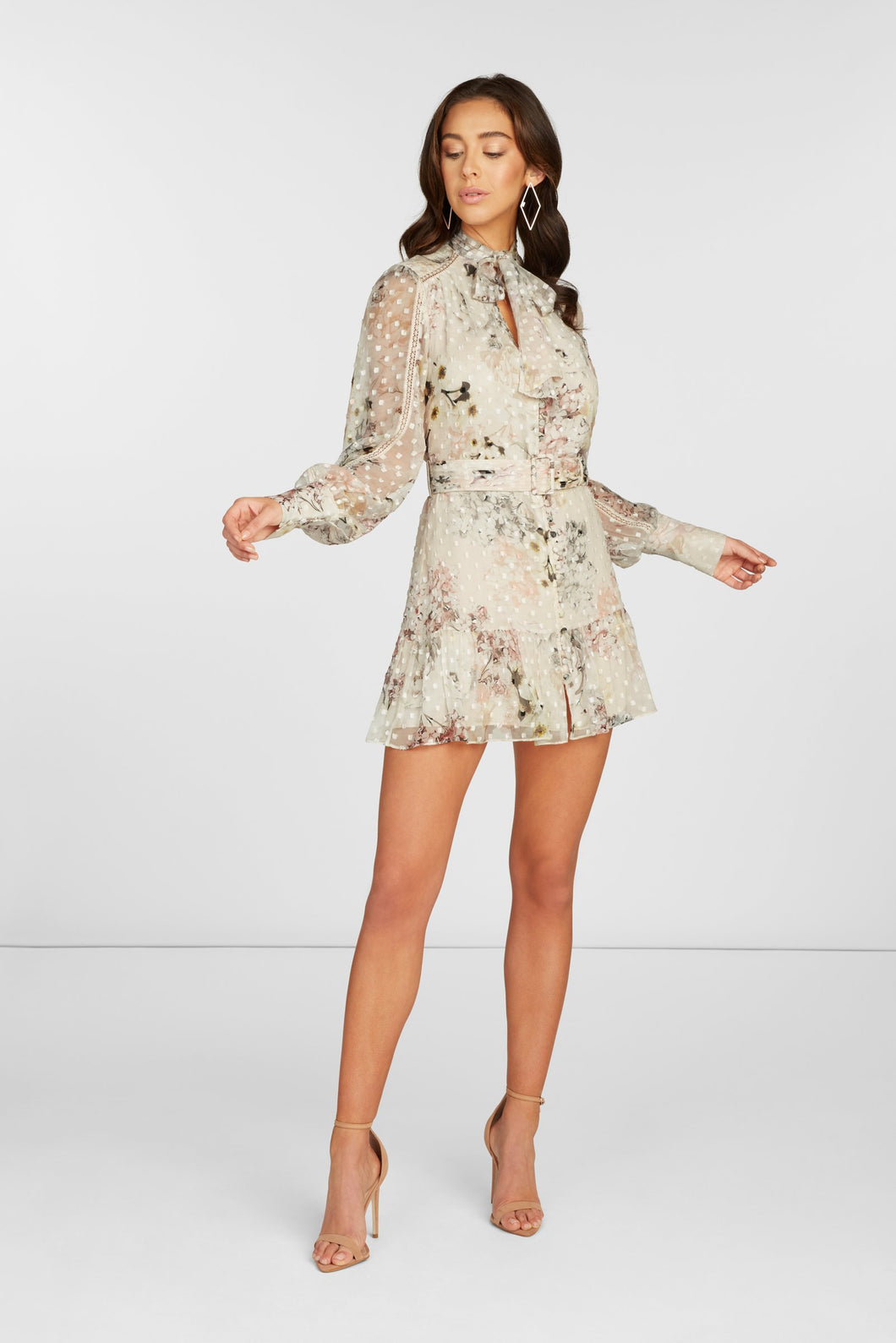 Madison Long Sleeve Mini Dress in Off White Floral Printed Clip Dot with Lace Detail