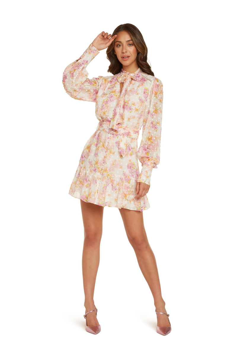 Madison Long Sleeve Mini Dress in Lavender Floral Printed Clip Dot with Lace Detail