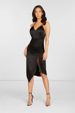 Load image into Gallery viewer, Lori Cut Out Midi Dress in Black Stretch Silk Satin with Adjustable Slit