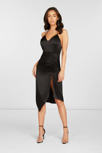 Lori Cut Out Midi Dress in Black Stretch Silk Satin with Adjustable Slit