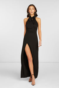 Ivanna Halter Maxi Dress in Black Stretch Viscose with Tie at Neck and High Slit at Hem