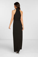 Load image into Gallery viewer, Ivanna Halter Maxi Dress in Black Stretch Viscose with Tie at Neck and High Slit at Hem