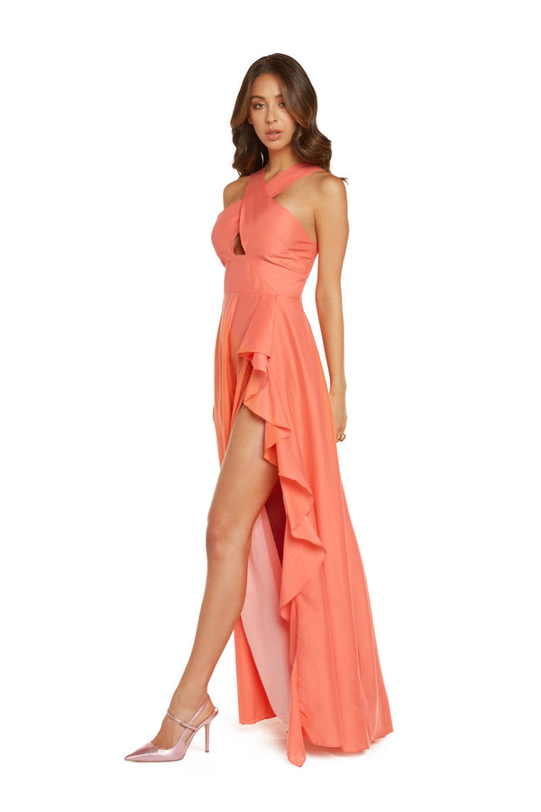 Kathy Halter Maxi Dress in Coral Silk Cotton Voile with High Slit