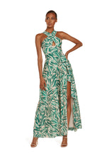 Load and play video in Gallery viewer, Kathy Halter Maxi Dress in Teal Zebra Silk Cotton Voile with High Slit