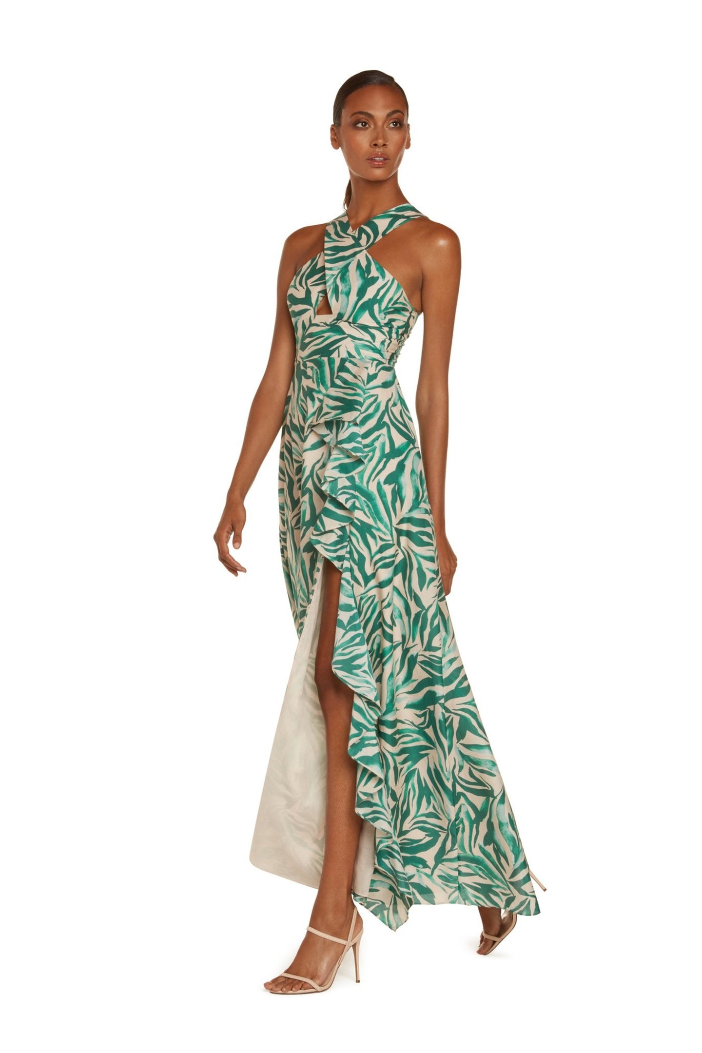 Kathy Halter Maxi Dress in Teal Zebra Silk Cotton Voile with High Slit