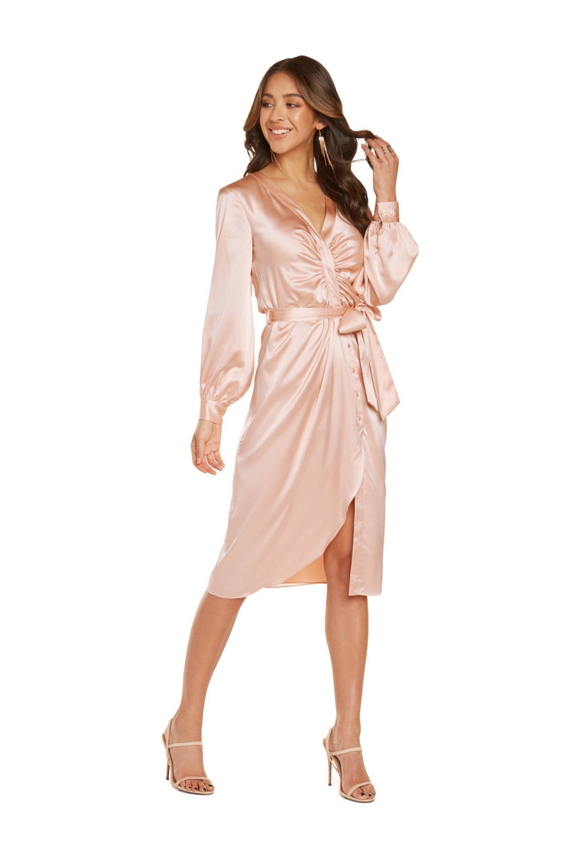 Luiza Long Sleeve Midi Dress in Blush Stretch Silk Satin with Curved Placket and Self Belt